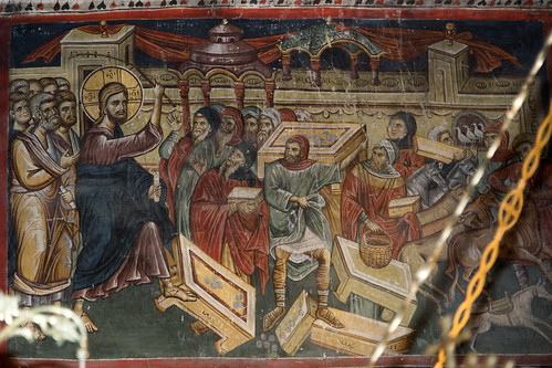 Jesus expelling the merchants and the money changers from the Temple