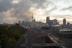 Auckland, New Zealand (Chris Hooton) Tags: realism truth outdoor lowlight softlight pointofview cbd buildingsite public transportation urban innercity cityscape cityview publicspace urbandesign evening bluehour publictransport delays
