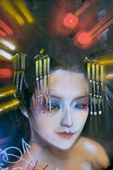 Alluring Miss (dhcomet) Tags: japanese girl maiden miss street art brick lane london painting portrait