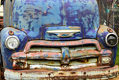 Big Blue Chevy Truck (Eyes Open To Life) Tags: automobile truck transportation vehicle chevy grill headlights vintage old rusty abaondoned rust blue antique decayed