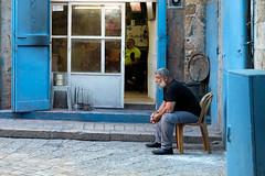 19101364_b (felipe bosolito) Tags: street streetphotography akkon israel blue old oldtown barbar barbarshop man profile fuji xpro2 xf1655 velvia