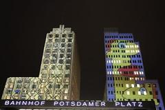 Colored Skyscrapers (Sven Bonorden) Tags: light licht beleuchtet illuminated colored coloured bunt gebäude building skyscraper hochhäuser potsdamerplatz festivaloflights berlin