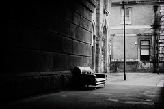 (Delay Tactics) Tags: sheffield wicker arches sofa settee couch abandoned left gritty shadow black white blackandwhite bw