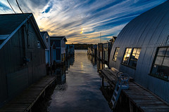 Canandaigua Lake Boathouses #2 (pa_cosgrove) Tags: canandaigua lake ny boathouses pier water reflections sky clouds sunset sony a73