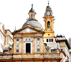 Baroque church (thomasgorman1) Tags: catholic church baroque architecture genoa genova italy travel building dome streetphotos belltower clock sacred religious