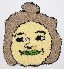 Karin (H o l l y.) Tags: rughooking rug fine art tapestry loop hole face character caricature funny silly weird eyes drawing acrylic yarn