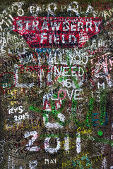 Living is easy with eyes closed, misunderstanding all you see (nickcoates74) Tags: liverpool strawberryfield strawberryfields strawberryfieldsforever gate gatepost woolton sony a6300 ilce6300 sigma 30mm 30mmf28dn graffiti