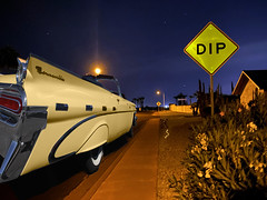 Dip (oybay©) Tags: suncitywest arizona sunset autumn color colors colorful sign light pontiac bonneville pontiacbonneville passing passinglane trafficlight mountainroad mountain road dangerous wideangle widetrack