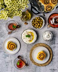 Zaatar Rolls 3 (omer.arahman) Tags: zaatar middleeastern food rolls foodphotos yummy olives oil pan skillet flatlay