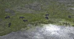 Graze (Loegan Magic) Tags: secondlife animal cattle landscape digital paintedeffect grass lake water barn