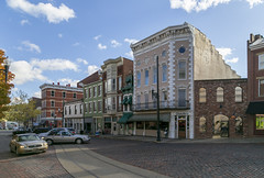 Buildings — Maysville, Kentucky (Pythaglio) Tags: buildings structures historic commercial storefronts eclectic italianate ornate cornice brackets maysville kentucky masoncounty clouds cars