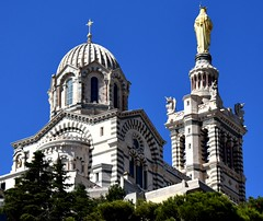 Our Lady of the Guard (thomasgorman1) Tags: byzantine architecture basilica nikon church guard statue belltower 1850s romanesque icon travel marseille france trees building garde stonework ornate