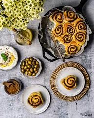 Zaatar Rolls 2 (omer.arahman) Tags: zaatar middleeastern food rolls foodphotos yummy olives oil pan skillet flatlay