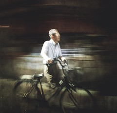 untitled (ChrisRSouthland (mostly off, traveling & working)) Tags: japan streetphotography ricohgriii griii motionblur motion icm blur tokyo color oldman old man bicycle street