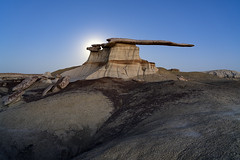 King Of Wings (Amar Raavi) Tags: kingofwings ahshislepah bistibadlands moonlit moonlight wildernessstudyarea wsa cantileverrock farmington newmexico dusk adventure outdoor travel mud rockformations erosion bureauoflandmanagement unitedstates america usa blm nature