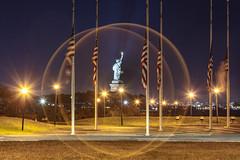 Statue of Liberty (Notkalvin) Tags: ladyliberty statueofliberty notkalvin mikekline newjersey america americana usa patriotic symbolic copper libertyisland newyork outdoors nopeople flags americanflag longexposure night freedom immigration france