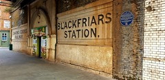 Blackfriars Station (South East Railways) 1864-69 (standhisround) Tags: wednesdaywalls walls wall london bridge blackfriars 150years railways bricks tiles writing sign southwark blackfriarsroad outdoors old pavement plaque hww
