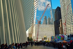 "Lunch from ""Smorgasburg"" at WTC Oculus Plaza (sjnnyny) Tags: d750 stevenj sjnnyny street wtc oculus architecture afsnikkor2470f28ged smorgasburg manhattan highrise crowd people development cranes worldtradecenter popularattractions"