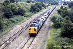 04/08/1987 - near Woodhouse, Sheffield, South Yorkshire. (53A Models) Tags: britishrail englishelectric type3 class37 37116 diesel freight woodhouse sheffield southyorkshire train railway locomotive railroad