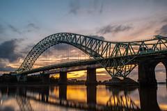 Widnes Jubilee Bridge Afternoon into Evening-2 (geraldmurphyx) Tags: landscape riverscape waterscape architecture civilengineering widnes runcorn merseyside siverjubileebridge bridges bridgesoverwater