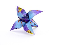 Traditional origami flower (iris). (catherine.moore44) Tags: origamiflower paperflower paper paperfolding origami flower craft craftidea teabreak coffeebreak relaxing japanese japanesecraft traditionalorigami blueflower stressrelief papiroflexia