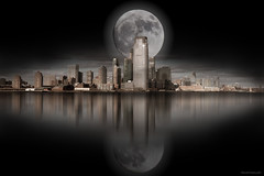 The moon over the city in the dark (ricardocarmonafdez) Tags: imaginacion imagination edition processing effect creative ciudad city luna moon dark oscuridad darkness nikon d850 skyscrapers rascacielos buildings edificios skyline cityscape