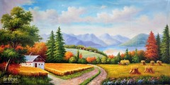Songs of Harvest, Art Painting / Oil Painting For Sale - Arteet™ (arteetgallery) Tags: arteet oil paintings canvas art artwork fine arts landscape sky summer tree travel grass clouds park scenery tourism sunny meadow trees scenic cloud sun natural outdoors mountain rural season outdoor field forest countryside horizon spring plant scene europe country autumn reflection environment hill land road landscapes pastorals fields orange lime paint