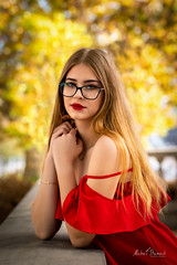 Klaudia (Michał Banach) Tags: klaudia nikond850 poznań tamronsp85mmf18divcusd autumn beautiful beauty city female girl glasses polishgirl portrait portret reddress sensual smile sun woman greaterpolandvoivodeship poland