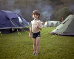 Charlie, Eskdale, 2010 (BennehBoy) Tags: 6x7 film instagram 0002746 camping icecream tents kid mamiya7