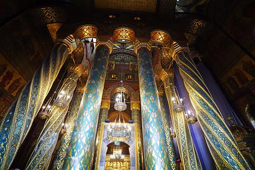 Wonderful pillars inside the Cathedral, Curtea de Argeș, Romania
