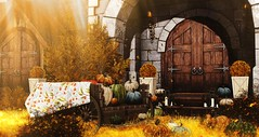 Autumn splendor (Alexa Maravilla/Spunknbrains) Tags: {mossmink} applefall aloe hive littlebranch kalopsia trompeloeil collabor88 alirium neveryoumind home fall outdoors autumn fameshed x arcade sayo decor decoration landscape pumpkins wagon house architecture building virtualliving virtual