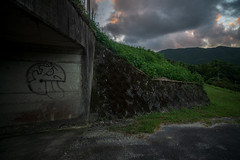 Tunnel leading to rice fields. (Yasuyuki Oomagari) Tags: tunnel graffiti agricultural mountain village sunset dusk nikon d850 zeiss distagont2821 landscape japan kyushu fukuoka 山村 日本 九州 福岡県 風景写真 夕陽