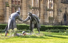 """""""The Truce"""" by Andy Edwards (Dailyville) Tags: statue andyedwards bombedoutchurch stlukeschurch liverpool england soldiers football outdoor ohiofoothills dailyville uk greatbritain memorial history wwi"""