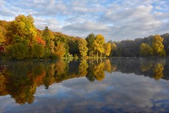This is why I love autumn (Nige H (Thanks for 25m views)) Tags: nature landscape autumn fall autumncolours lake reflection trees sky cloud mirror england wiltshire stourhead nationaltrust