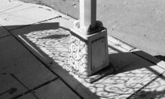 Glendale, Queens (neilsonabeel) Tags: nikonfm2 nikon nikkor film analogue shadow blackandwhite queens newyorkcity street lamppost pavement sidewalk glendale walk