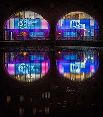 Hits Radio (Chris Willis 10) Tags: manchesternight night illuminated reflection architecture blue urbanscene technology lightingequipment city multicolored backgrounds builtstructure buildingexterior hits radio station castlefield dj