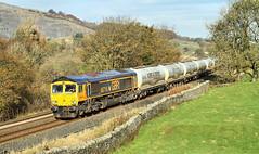 Autumn GBRf Cement. (Neil Harvey 156) Tags: railway 66716 locomotivecarriageinstitution helwithbridge settletocarlislerailway cementtrain clitheroecement castlecement 4n00 class66 gbrf