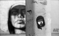 Street Art (neilsonabeel) Tags: streetart sticker mural blackandwhite newyorkcity manhattan nikonfm2 nikon nikkor street