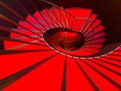 the red (rainerralph) Tags: architcture olympus architektur stairway spirale stiege staircase spiral stair omdem5markii objektivmzuikodigital714pro badenwürttemberg treppe