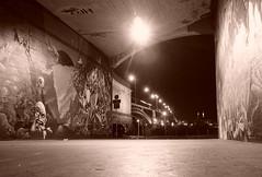 Graffiti in Pedestrian Underpass (- ABL -) Tags: rheinufer mainz wiesbaden underpass pedestrian subway unterführung tunnel graffiti sepia sony ilce6000 selp1650 nightshot bridge brücke licht light lichtkranz