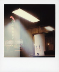 Campus Theatre Reflection (tobysx70) Tags: test color film polaroid for beta originals cameras member pioneer slr680 1901 itype roidweek street autumn west reflection fall campus october texas theatre tx week denton hickory roid 2019 polaroidweek pink usa green window sign night stars marquee us neon nocturnal stripes flag illuminated lit twilightwithtoby toby photography hancock day4 092919 polacon polacon4 polacon2019