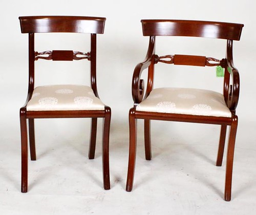 Set of 8 Biggs White Upholstered Dining Chairs ($448.00)