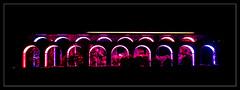 Chirk Light Show (Jim the Joker) Tags: chirk viaduct aqueduct lights unesco worldheritagesite railway train 2s22 class158 transportforwales tfw