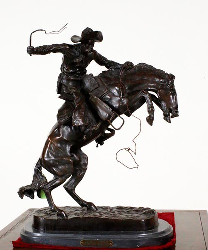 "Fredric Remington replica ""Bronco Buster"" 24""H bronze sculpture ($784.00)"