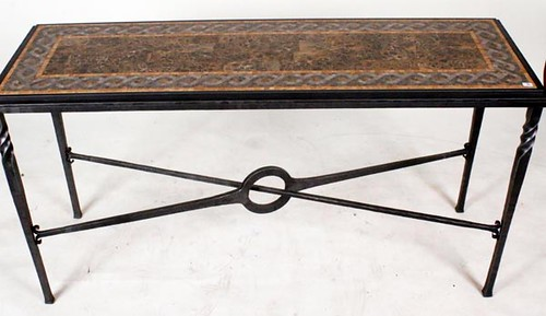 Fine Iron Window Table with Italian Marble Top ($448.00)