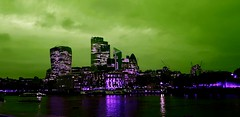 London calling to the underworld (chemakayser) Tags: london uk nigth city támesis thames river rascacielos londres skyline skyscraper cityscape building exterior iluminated green skies downtown england