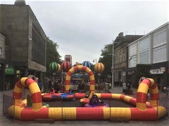 BOLTON, LANCASHIRE -- CHILDRENS FAIR IN TOWN CENTRE (rossendale2016) Tags: greater england northern lancashire bolton slide cars roundabout funfair fair childrens