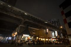 Late night dinner under the railway (Tim&Elisa) Tags: japan tokyo canon night nightscape cityscape city citylights lights urban ginza shinkansen train railway food drinks izakaya