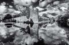 A place of for reflection (David Feuerhelm) Tags: mono monochrome bw blackandwhite noiretblanc schwarzundweiss blancoynegro contrast wideangle water building wall tower clouds sky reflections old historic wells somerset history bishopspalace nikkor 1635mmf4 nikon d750