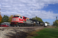 NS 911 North (BSTPWRAIL) Tags: ns norfolk southern railroad railway rail road way d49 local manifest mixed freight train illinois honoring first responders sd60e sd402 locomotives locomotive goodfield